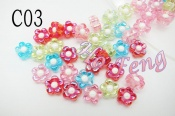 塑膠珠- C03 透明小花 8mm